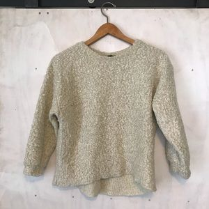 Cream Crop Topshop Boucle fuzzy sweater S